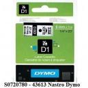 ORIGINAL DYMO nastro laminato nero su bianco S0720780 43613 6mm x 7m, nastro standard D1